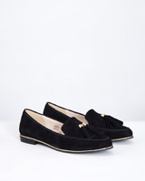 black-suede Gallery Suede Loafer With Tassel Trim