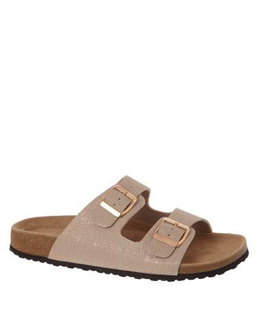 blushBuckle Footbed Sandals