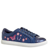 navy Older Girls Embroidered Shoes