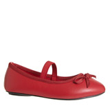 red Younger Girls Bow Ballerina Shoes