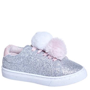 989d89124e9d pewter Younger Girls Pom Pom Glitter Shoe