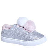pewter Younger Girls Pom Pom Glitter Shoe