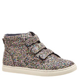 navy Younger Girls Glitter High Top Trainers