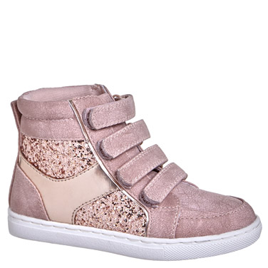 60b0370e7e5d baby-pink Younger Girls Strap Hi-Tops
