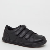 black Three Strap Coated Leather Shoes