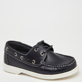 navy Older Girls Leather Loafers