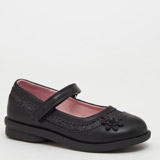 black Back-To-School Girls Strap Shoes