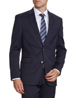 navy Regular Fit Wool Blend Jacket