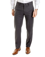 grey Regular Fit Wool Blend Trousers