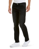 black-wash Straight Fit Stretch Denim Jeans