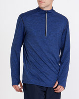 blue-marl Marled Quarter Zip Running Top