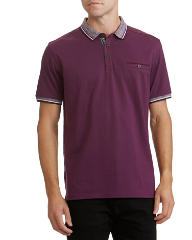 ce8a19599a4f4 purple Regular Fit Textured Collar Polo