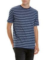 indigo Regular Fit Slub Stripe T-Shirt