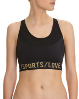 black Slogan Band Medium Impact Sports Bra