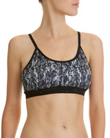 print Jacquard Band Medium Impact Sports Bra