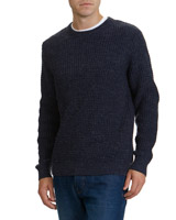 navy Texture Knit Crew Neck Jumper
