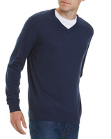 dark-navy Regular Fit Cotton Viscose V Neck Jumper