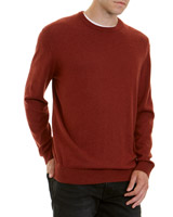 brown Regular Fit Cotton Viscose Crew-Neck Jumper