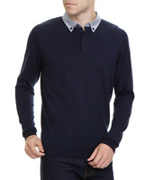 navy Regular Fit Woven Collar Jumper