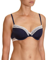 navy Lace Trim T-Shirt Bra - Pack Of 2