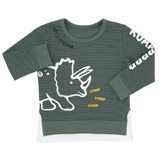 khaki Toddler Stripe Dino Crew Neck Top