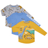 ochre Toddler Dino Long Sleeve Top - Pack Of 3