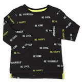 black Toddler Be Happy Long Sleeve Top