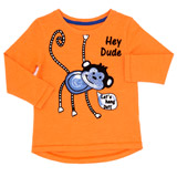 orange Toddler Monkey Applique Top