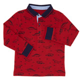 red Toddler Dino Long-Sleeved Polo
