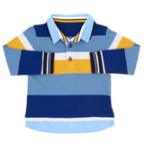 blue Toddler Block Stripe Rugby Top