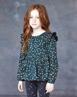 greenLeigh Tucker Willow Poppy Twill Top With Foil Print