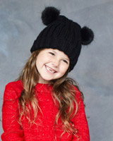 black Leigh Tucker Willow Mable Double Bobble Beanie