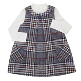 grey Toddler Check Dress And Top Set