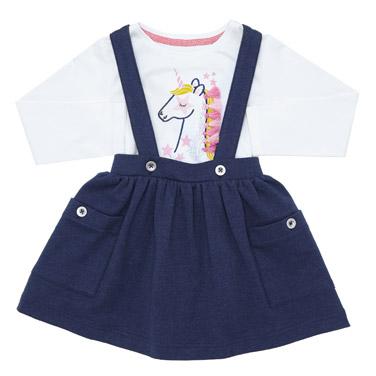 65a15a878f4 denim Toddler Braces Skirt And Top Set