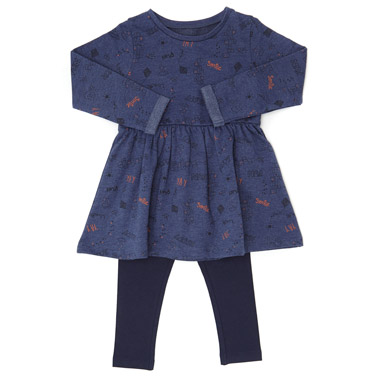 d350f38190 denim Toddler Dress And Leggings Set