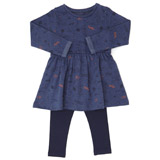 denim Toddler Dress And Leggings Set