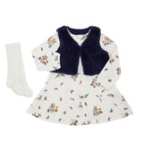 multi Toddler Dress,  Gilet And Tights Set