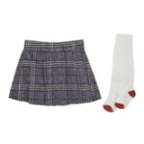 grey Toddler Check Skirt And Tights