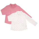pink Toddler Roll-Neck Top - Pack Of 2