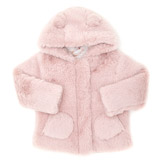pink Toddler Faux-Fur Coat With Hood