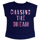navy Girls Slogan T-Shirt (4-14 years)