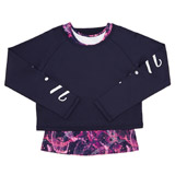 navy Girls Long Sleeve Twofer Top (4-14 years)