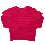 hot-pink Girls Chenille Frill Sleeve Jumper (4-14 years)