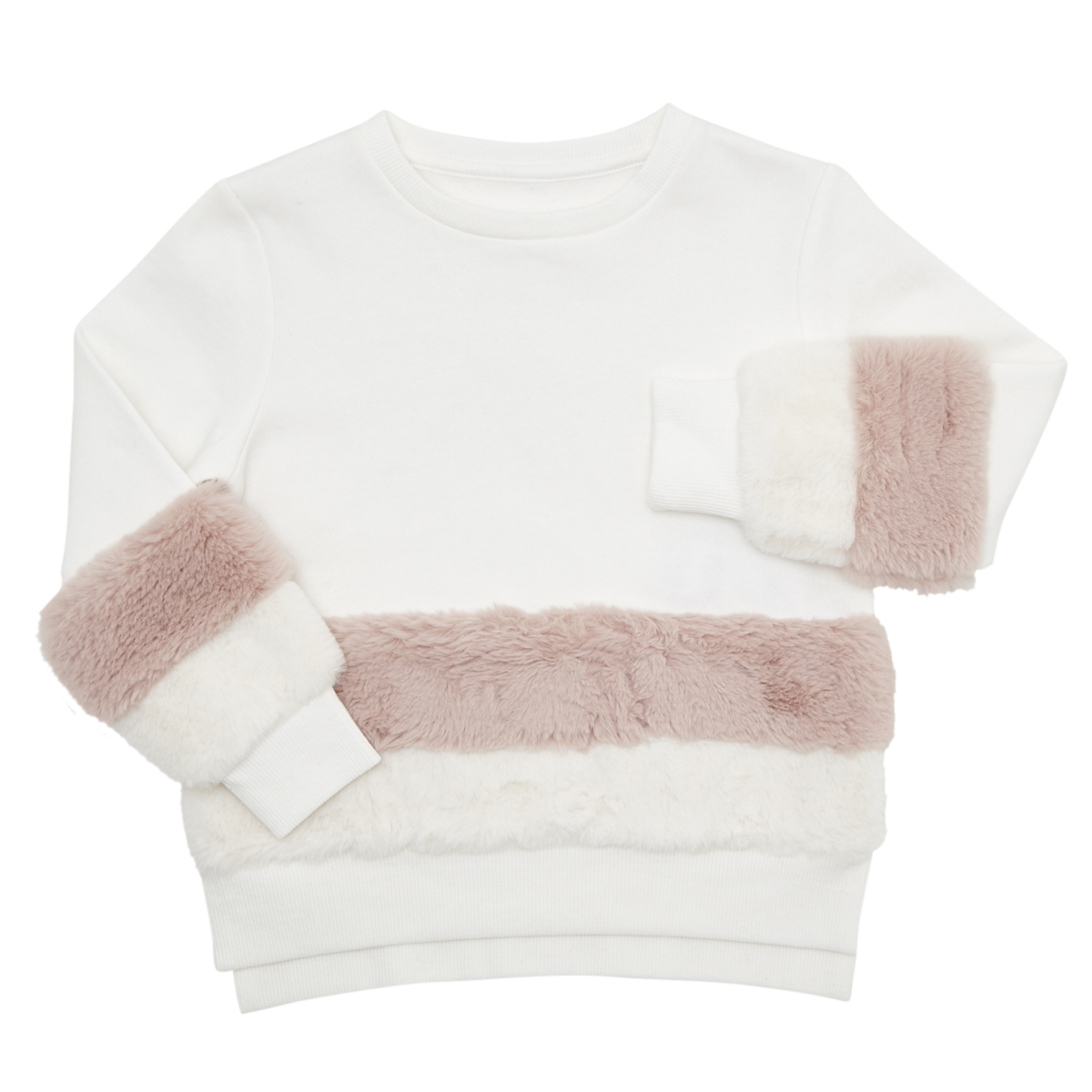white Girls Faux Fur Hem Sweater (4-14 years)
