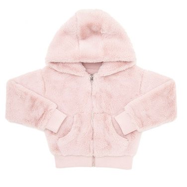 3ef613f78 baby-pink Girls Faux Fur Zip Hoodie (3-14 years)