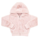 baby-pink Girls Faux Fur Zip Hoodie (3-14 years)
