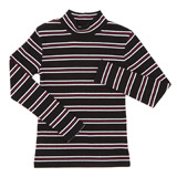 black Girls Stripe Rib Polo Neck (3-10 years)