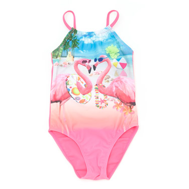 a5097d93f0736 pink Girls Flamingo Swimsuit (4-10 years)