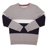 grey Boys Panel Crew Neck Fleece Jumper (8-14 years)