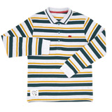 green Boys Yarn Dyed Pique Rugby Top (3-10 years)